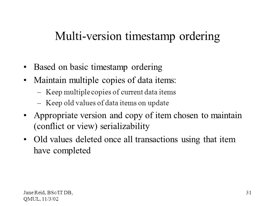 Multi-version timestamp ordering