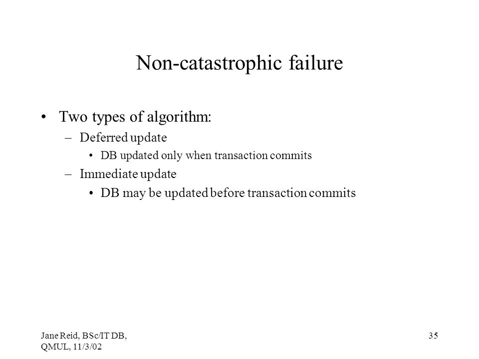 Non-catastrophic failure