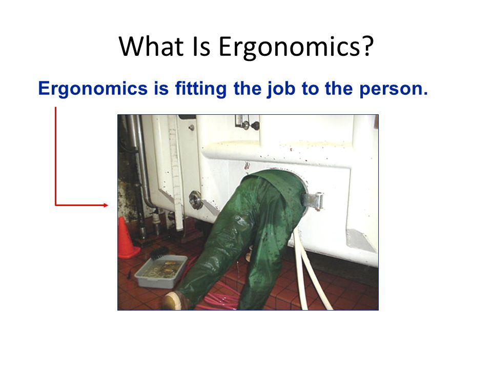 What Is Ergonomics Ergonomics is fitting the job to the person.