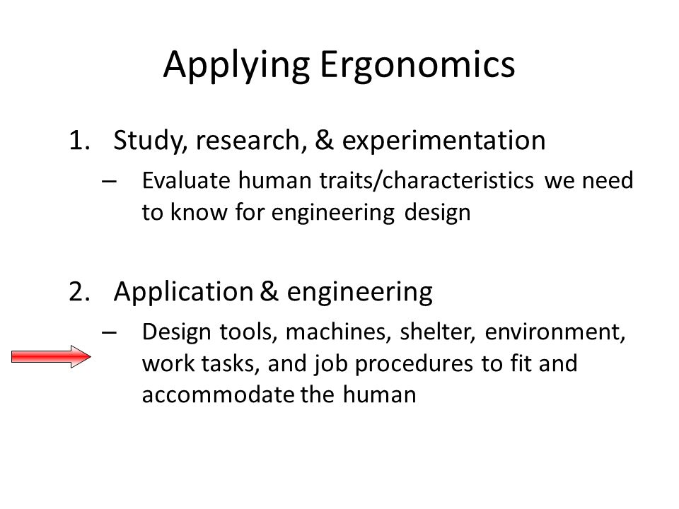 Applying Ergonomics Study, research, & experimentation