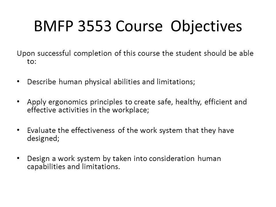 BMFP 3553 Course Objectives