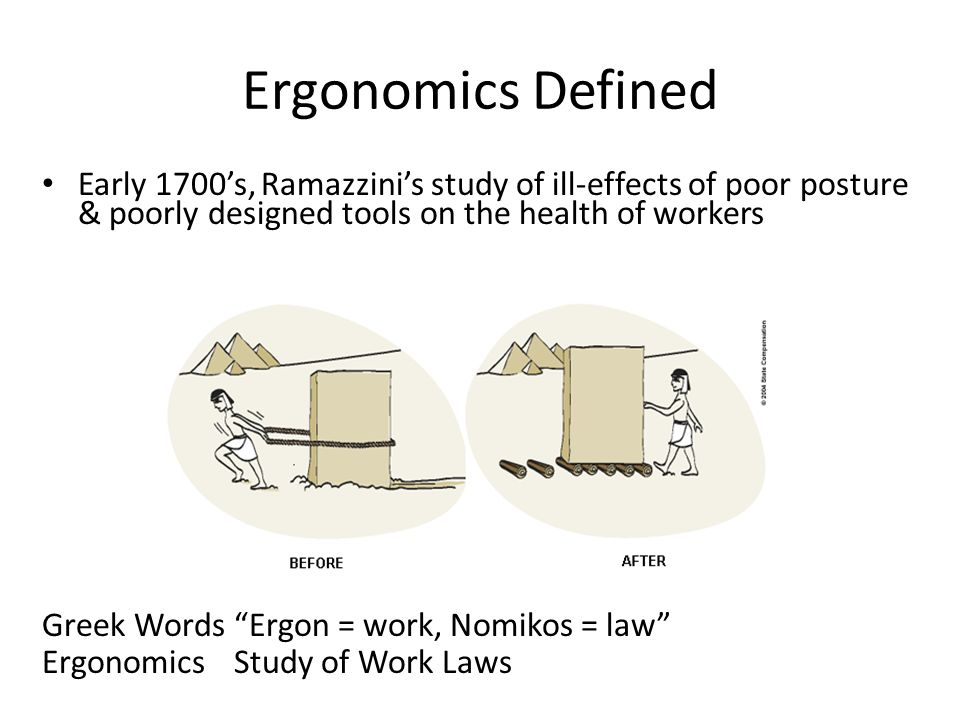Ergonomics Defined Early 1700's, Ramazzini's study of ill-effects of poor posture & poorly designed tools on the health of workers.