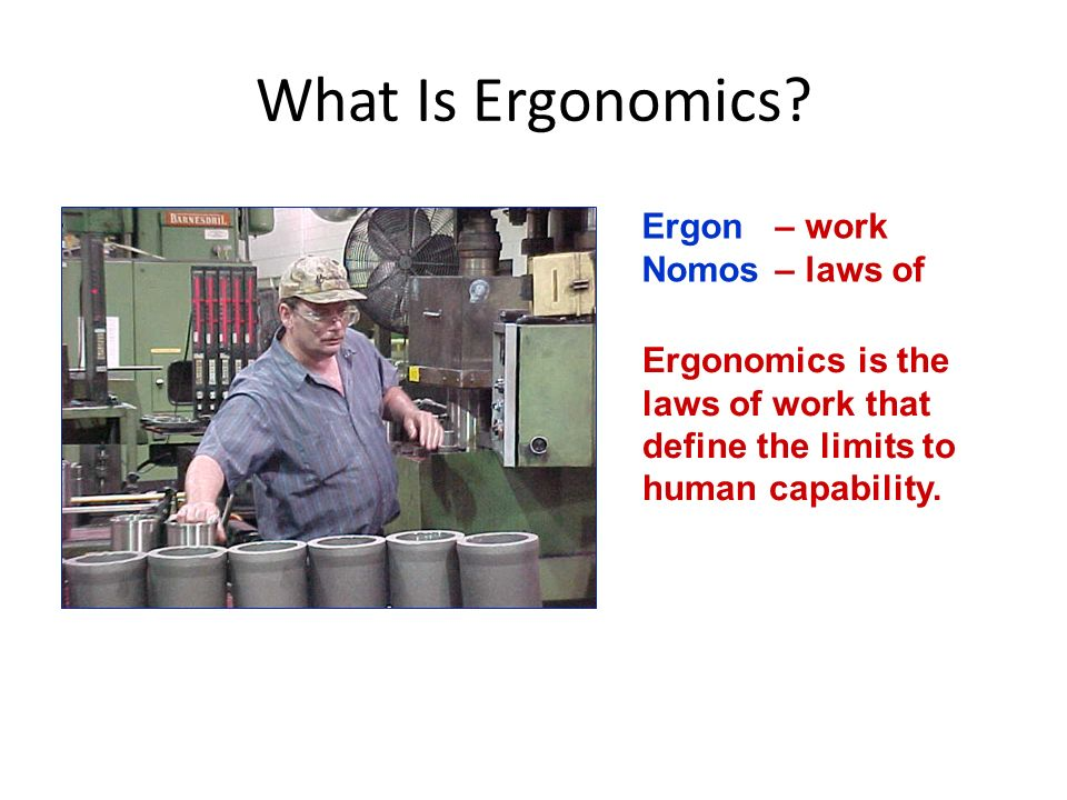 What Is Ergonomics Ergon – work Nomos – laws of