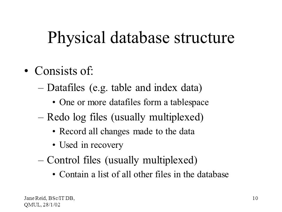Physical database structure