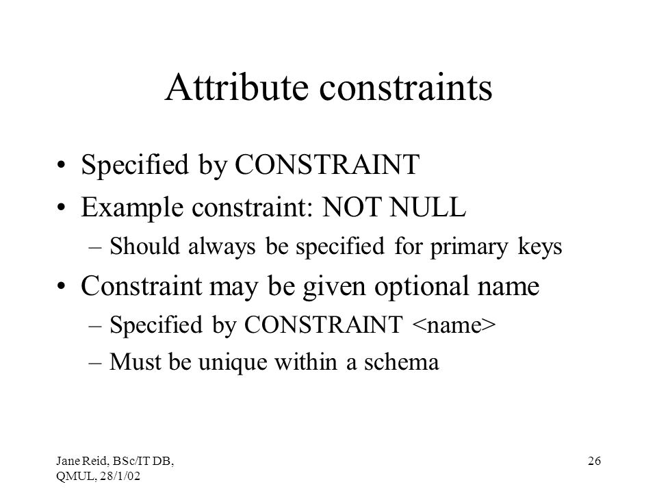 Attribute constraints
