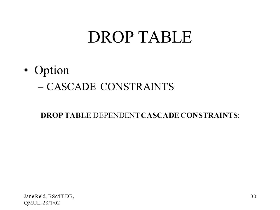 DROP TABLE DEPENDENT CASCADE CONSTRAINTS;