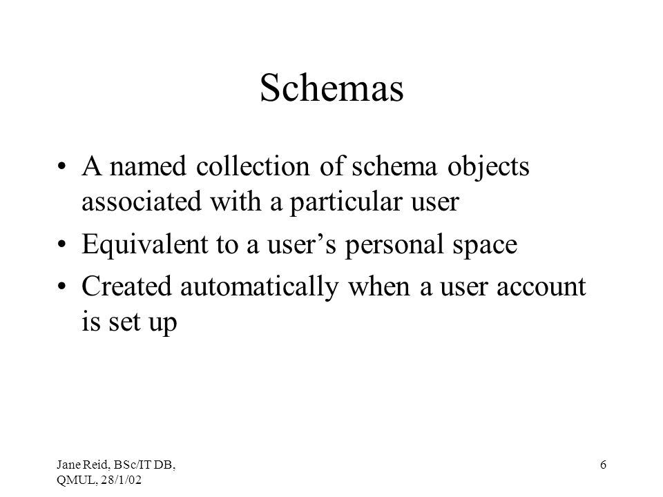 Schemas A named collection of schema objects associated with a particular user. Equivalent to a user's personal space.
