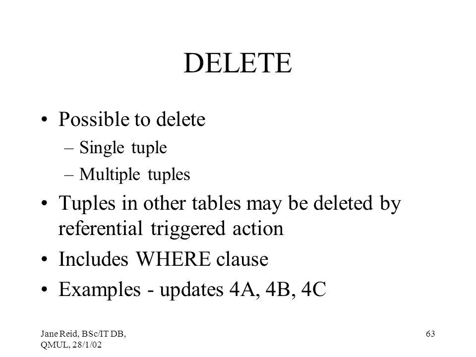 DELETE Possible to delete