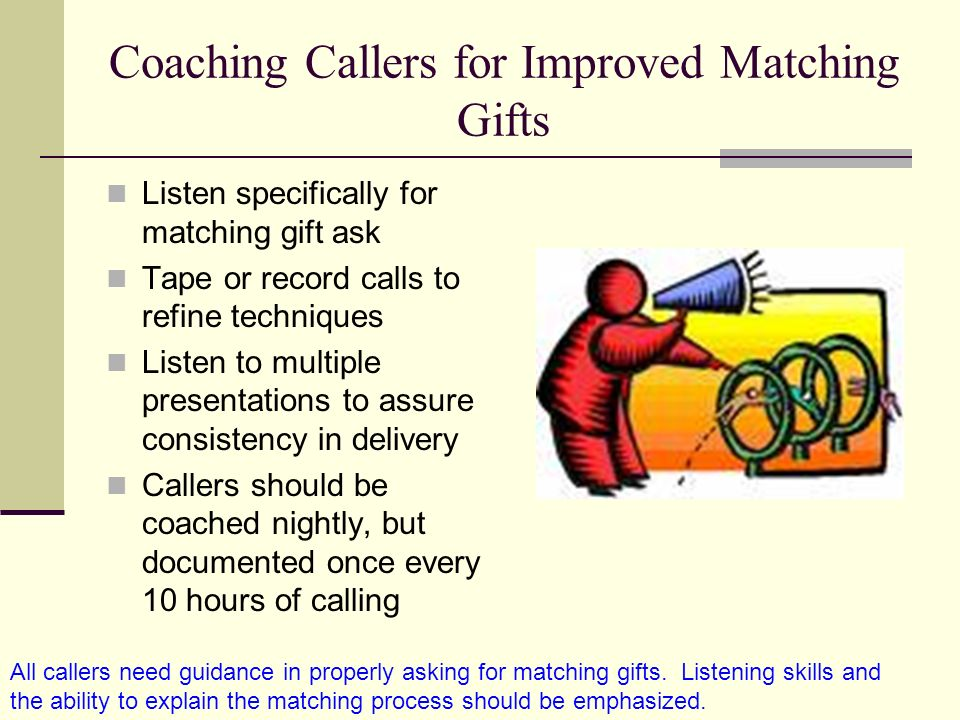 Coaching Callers for Improved Matching Gifts