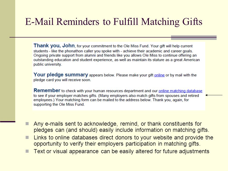 E-Mail Reminders to Fulfill Matching Gifts