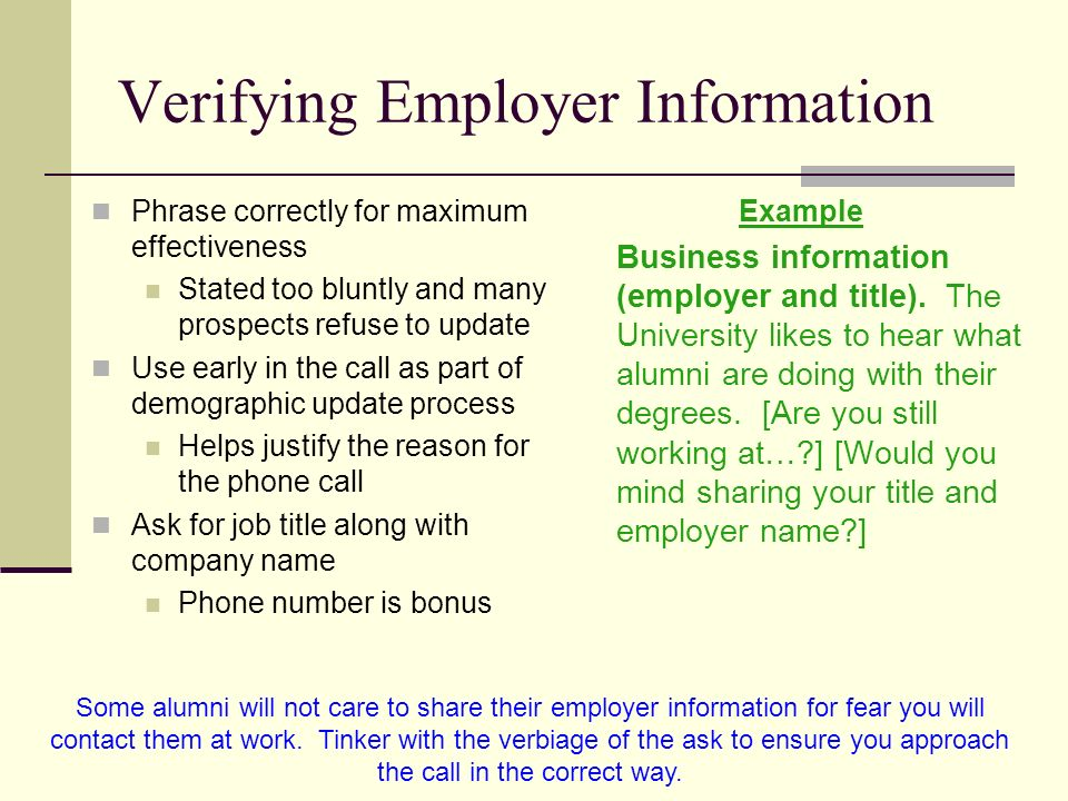 Verifying Employer Information