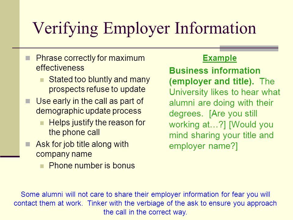 Verifying Employer Information