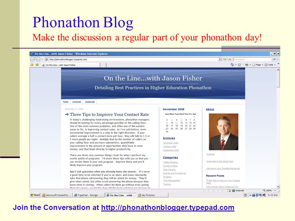 Phonathon Blog Make the discussion a regular part of your phonathon day!