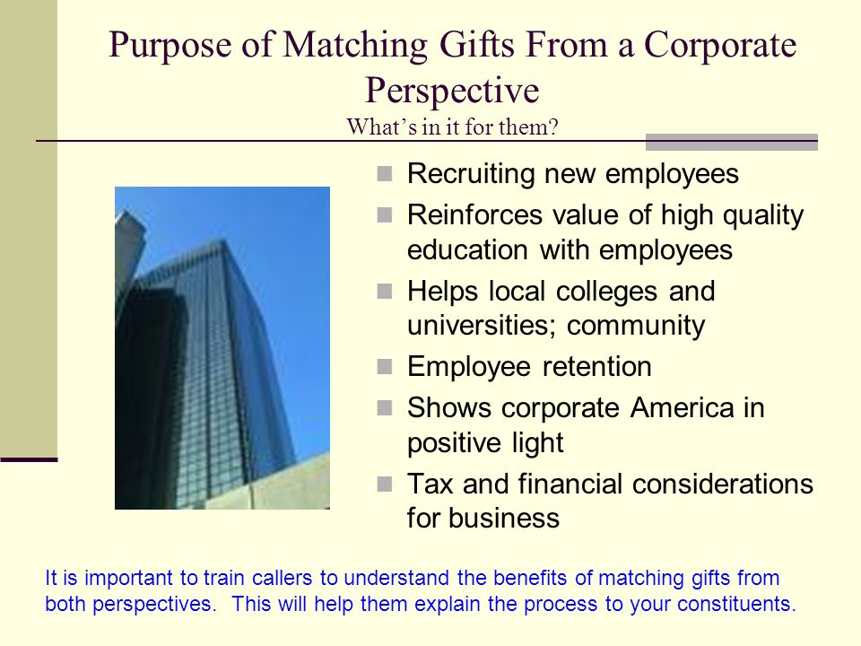 Purpose of Matching Gifts From a Corporate Perspective What's in it for them