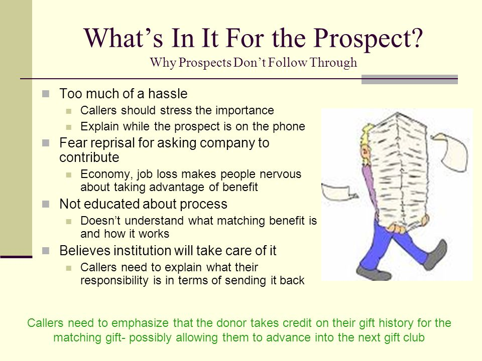 What's In It For the Prospect Why Prospects Don't Follow Through