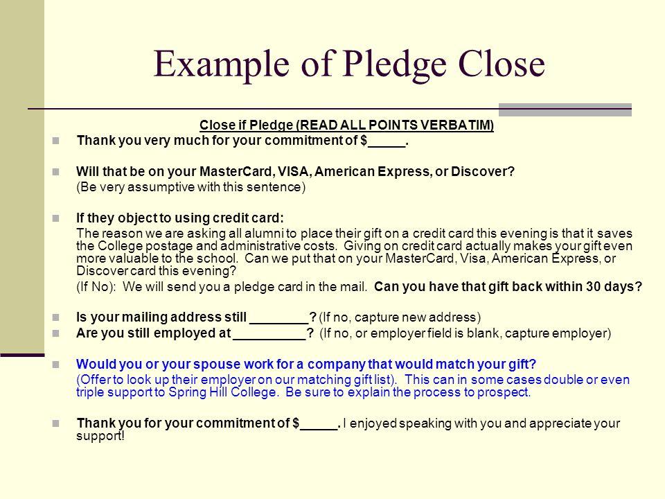 Example of Pledge Close