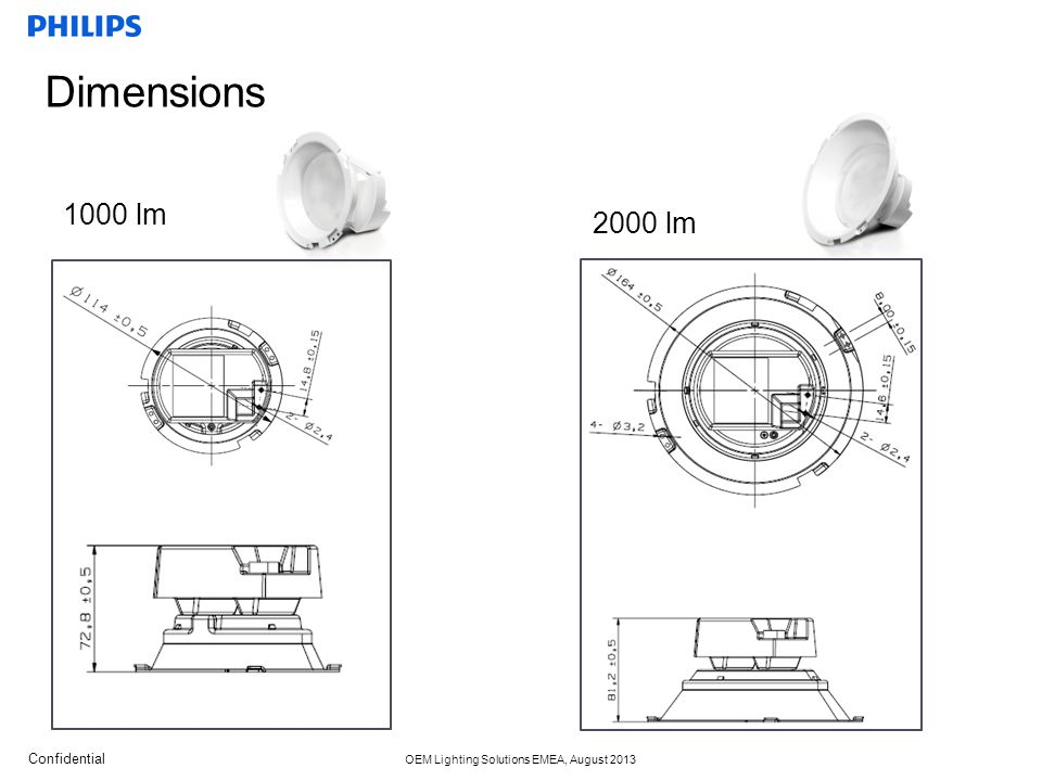 Dimensions 1000 lm 2000 lm