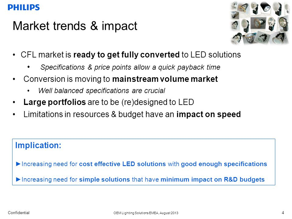 Market trends & impact CFL market is ready to get fully converted to LED solutions. Specifications & price points allow a quick payback time.