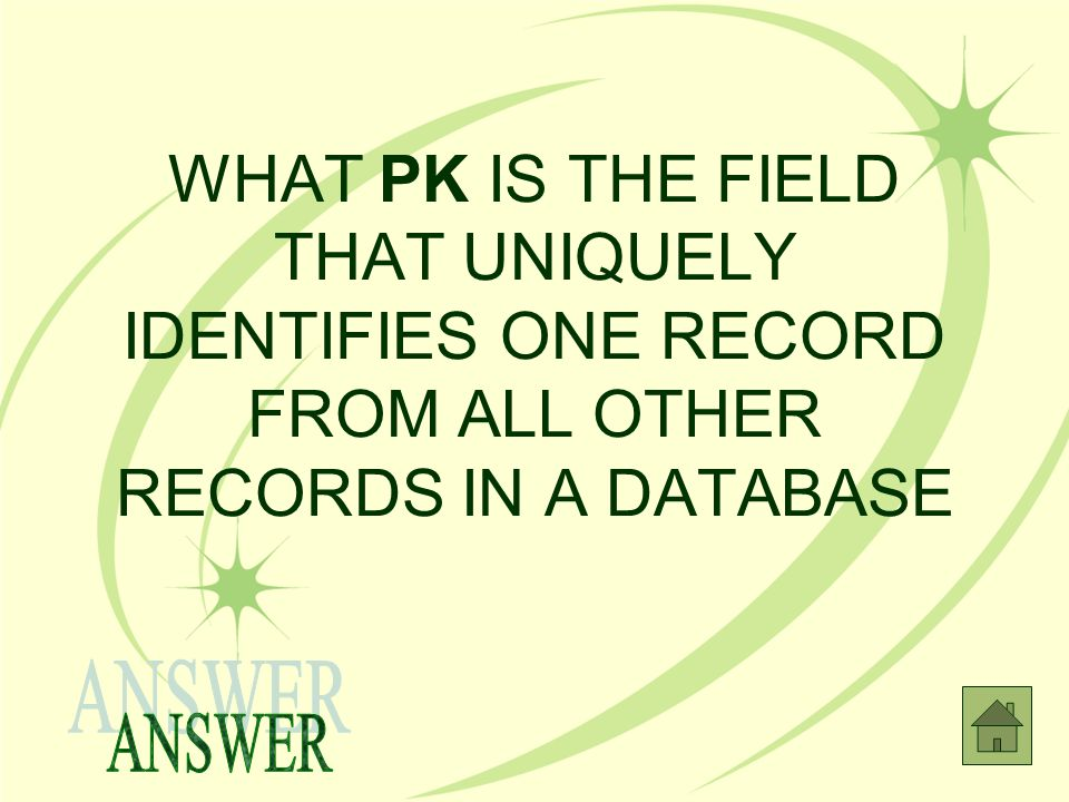 WHAT PK IS THE FIELD THAT UNIQUELY IDENTIFIES ONE RECORD FROM ALL OTHER RECORDS IN A DATABASE