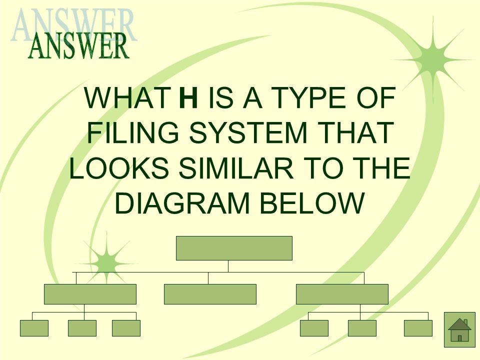 ANSWER WHAT H IS A TYPE OF FILING SYSTEM THAT LOOKS SIMILAR TO THE DIAGRAM BELOW