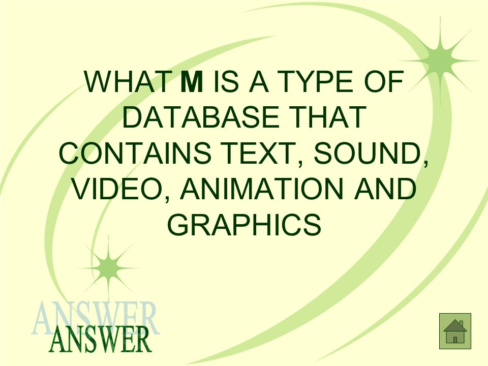 WHAT M IS A TYPE OF DATABASE THAT CONTAINS TEXT, SOUND, VIDEO, ANIMATION AND GRAPHICS