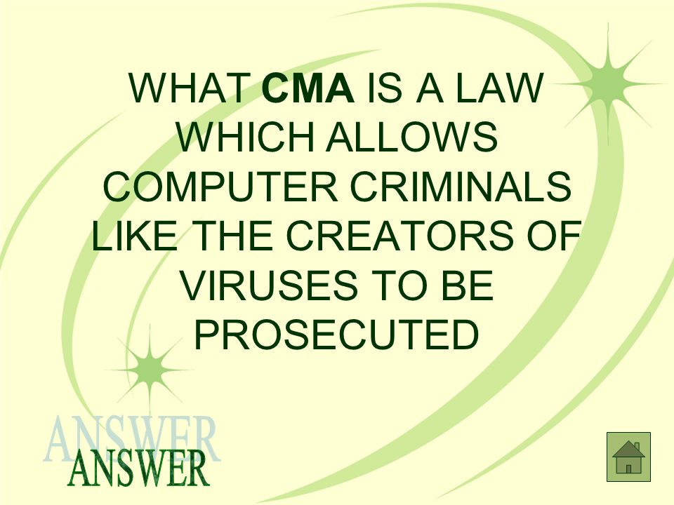 WHAT CMA IS A LAW WHICH ALLOWS COMPUTER CRIMINALS LIKE THE CREATORS OF VIRUSES TO BE PROSECUTED