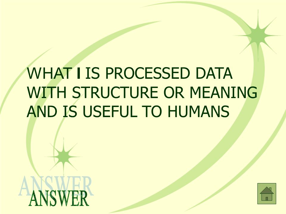 WHAT I IS PROCESSED DATA WITH STRUCTURE OR MEANING AND IS USEFUL TO HUMANS