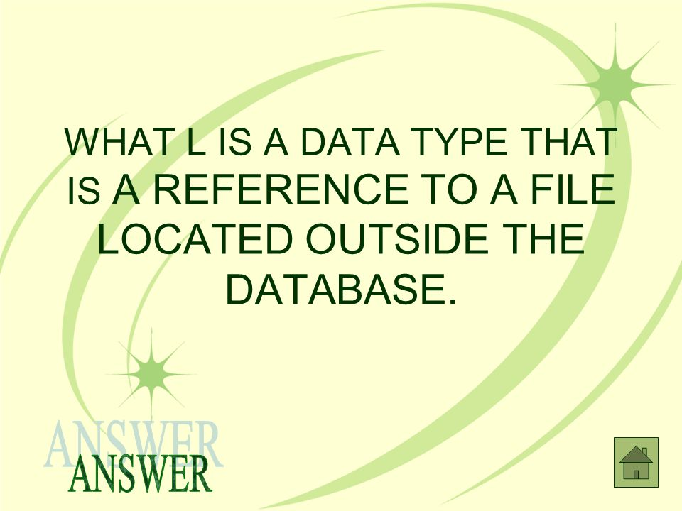 WHAT L IS A DATA TYPE THAT IS A REFERENCE TO A FILE LOCATED OUTSIDE THE DATABASE.