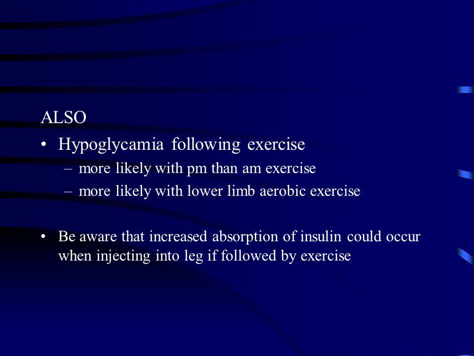 Hypoglycamia following exercise
