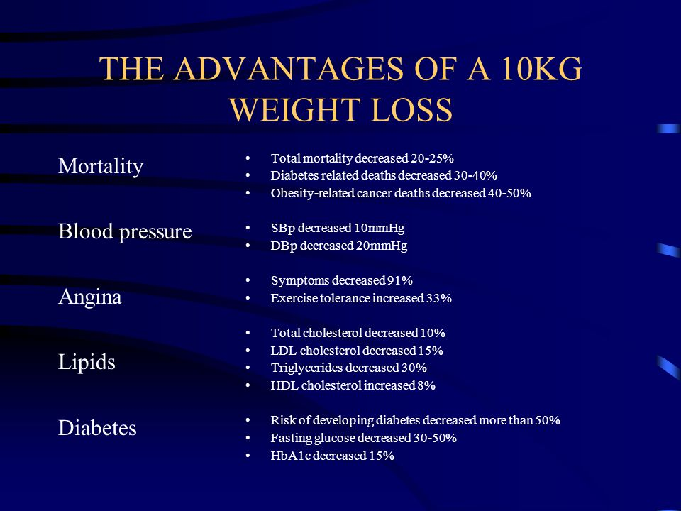 THE ADVANTAGES OF A 10KG WEIGHT LOSS