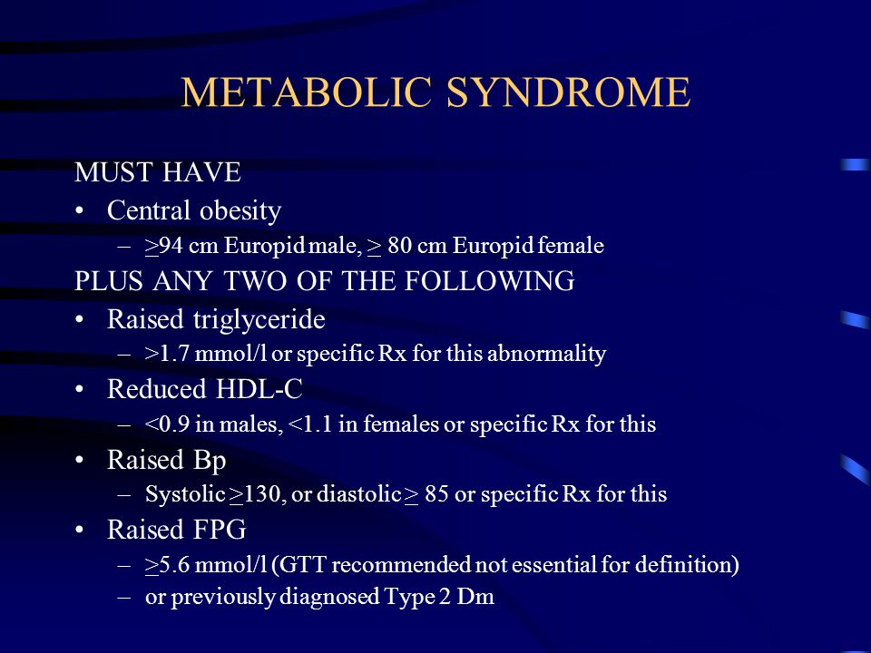 METABOLIC SYNDROME MUST HAVE Central obesity