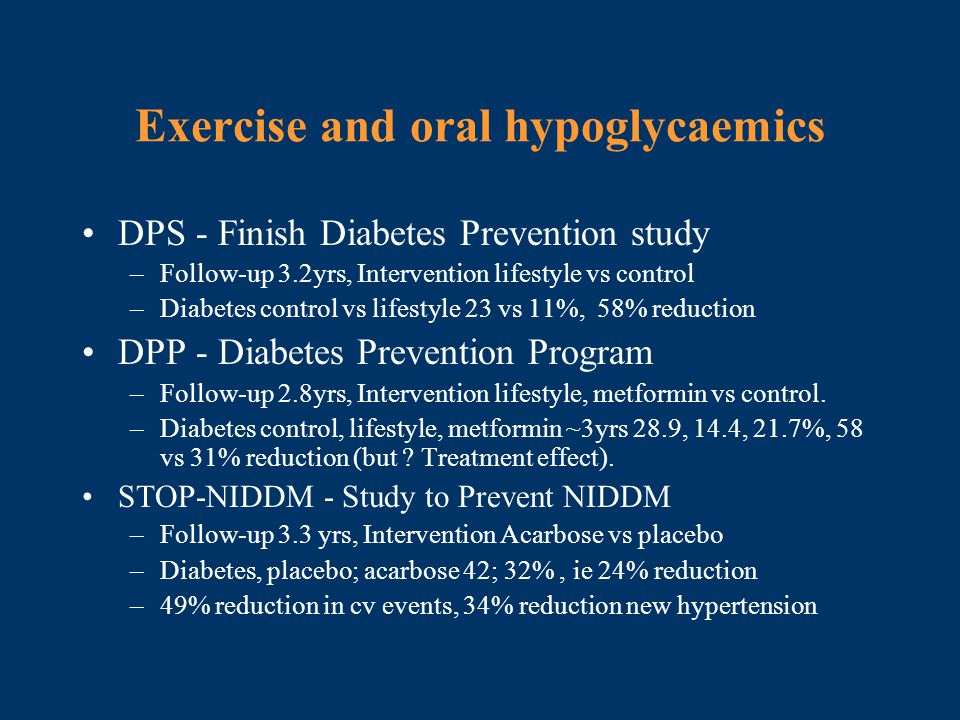 Exercise and oral hypoglycaemics