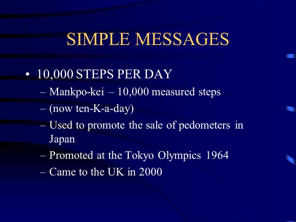 SIMPLE MESSAGES 10,000 STEPS PER DAY