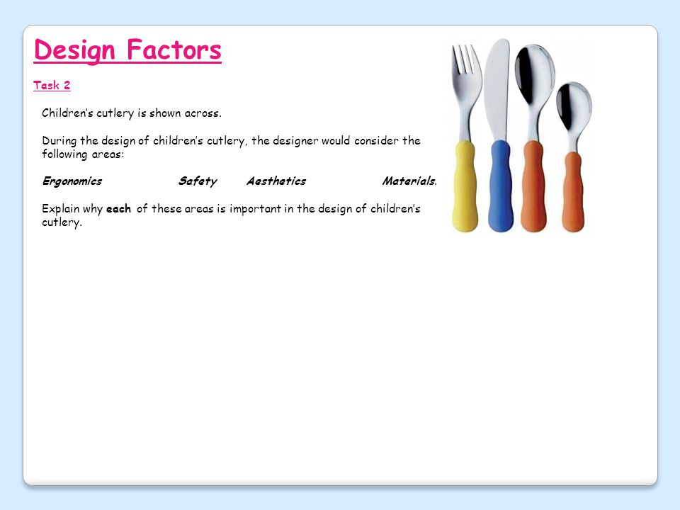 Design Factors Task 2 Children's cutlery is shown across.