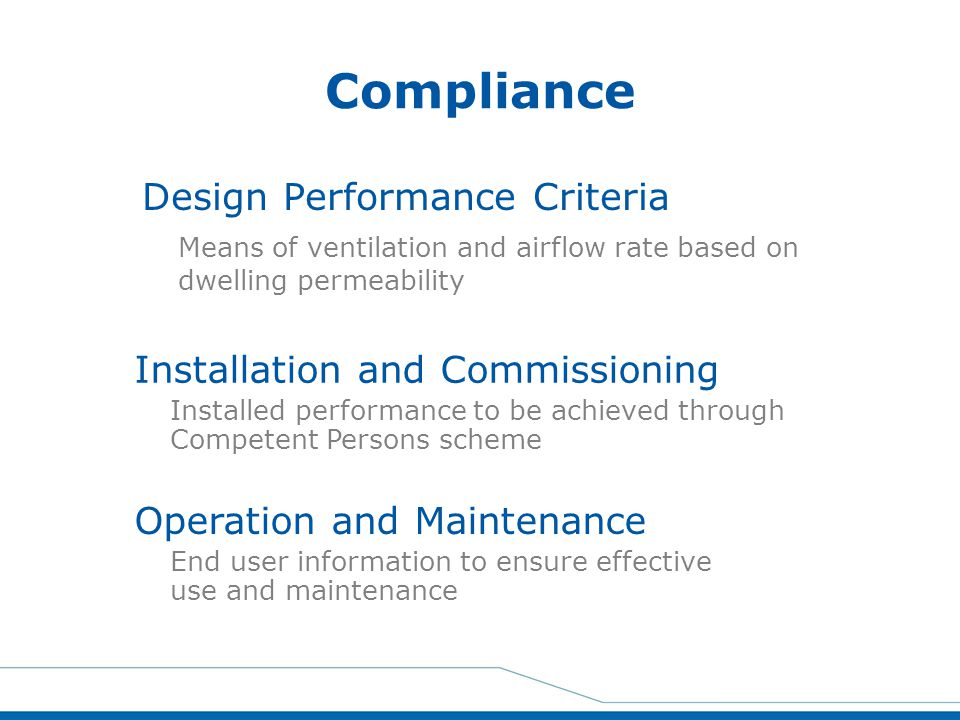 Compliance Design Performance Criteria Installation and Commissioning