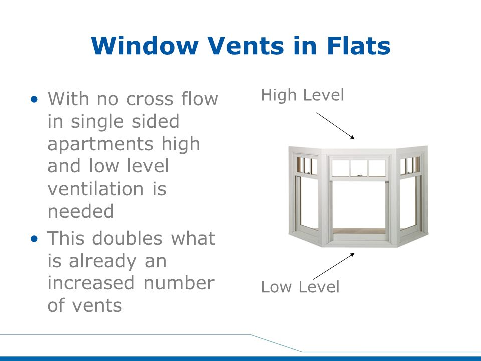 Window Vents in Flats With no cross flow in single sided apartments high and low level ventilation is needed.