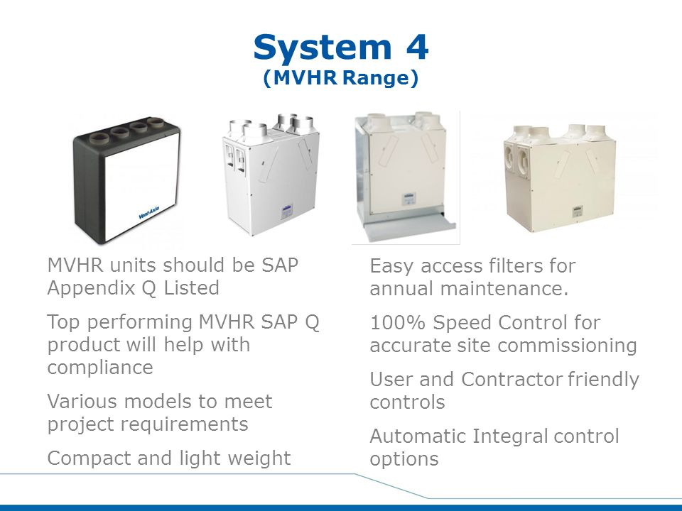 System 4 (MVHR Range) MVHR units should be SAP Appendix Q Listed
