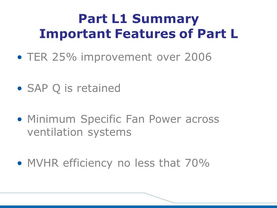 Part L1 Summary Important Features of Part L