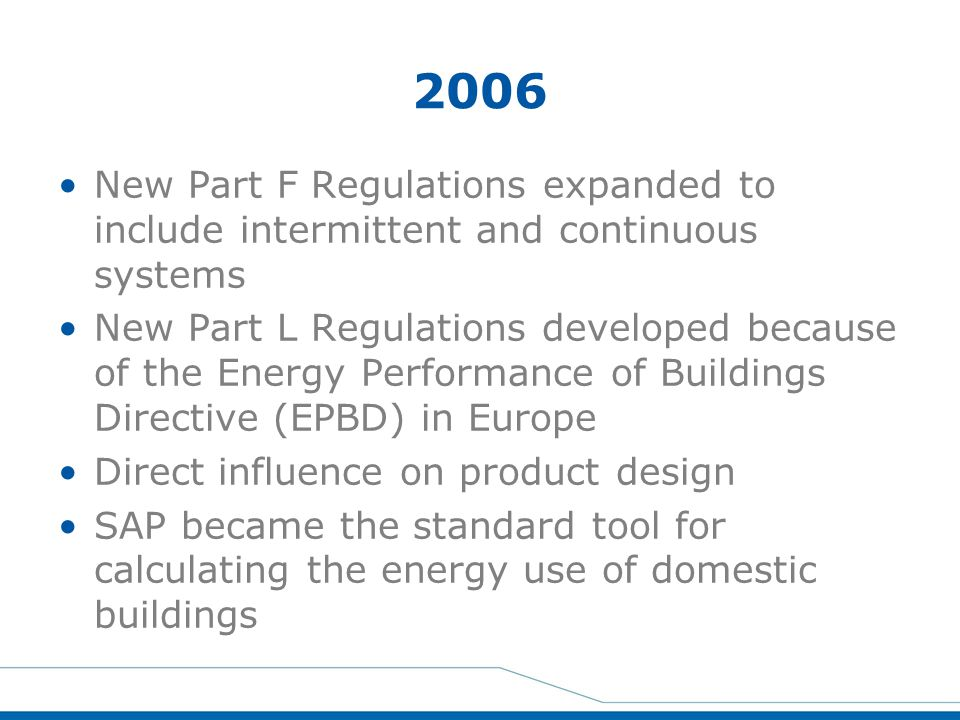2006 New Part F Regulations expanded to include intermittent and continuous systems.