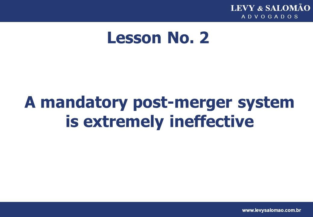 A mandatory post-merger system is extremely ineffective