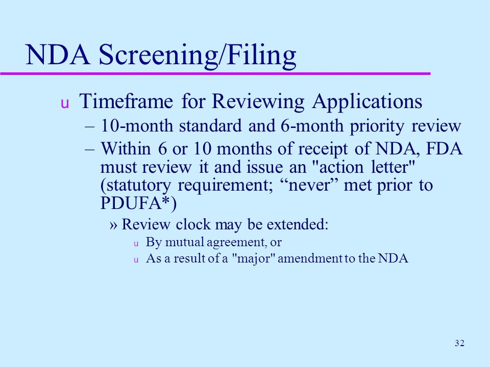 NDA Screening/Filing Timeframe for Reviewing Applications