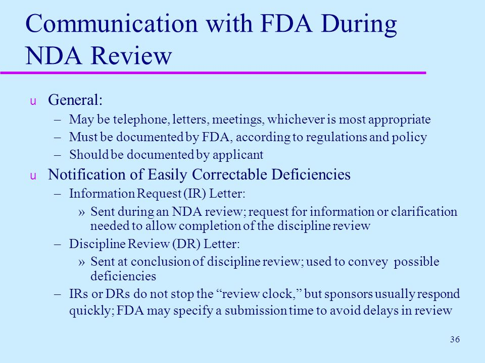 Communication with FDA During NDA Review