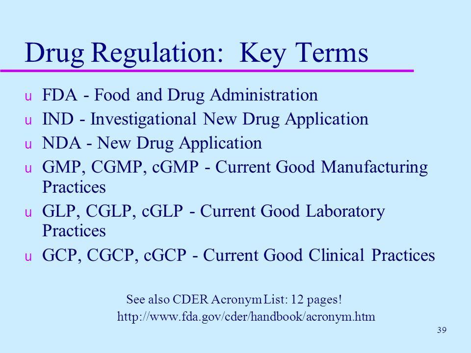 Drug Regulation: Key Terms