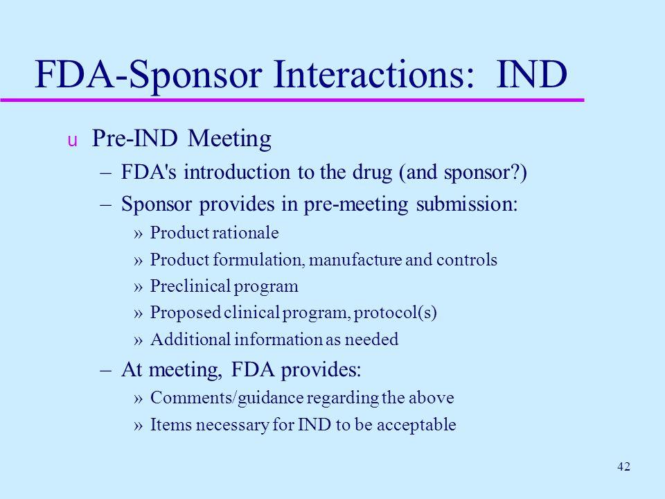 FDA-Sponsor Interactions: IND