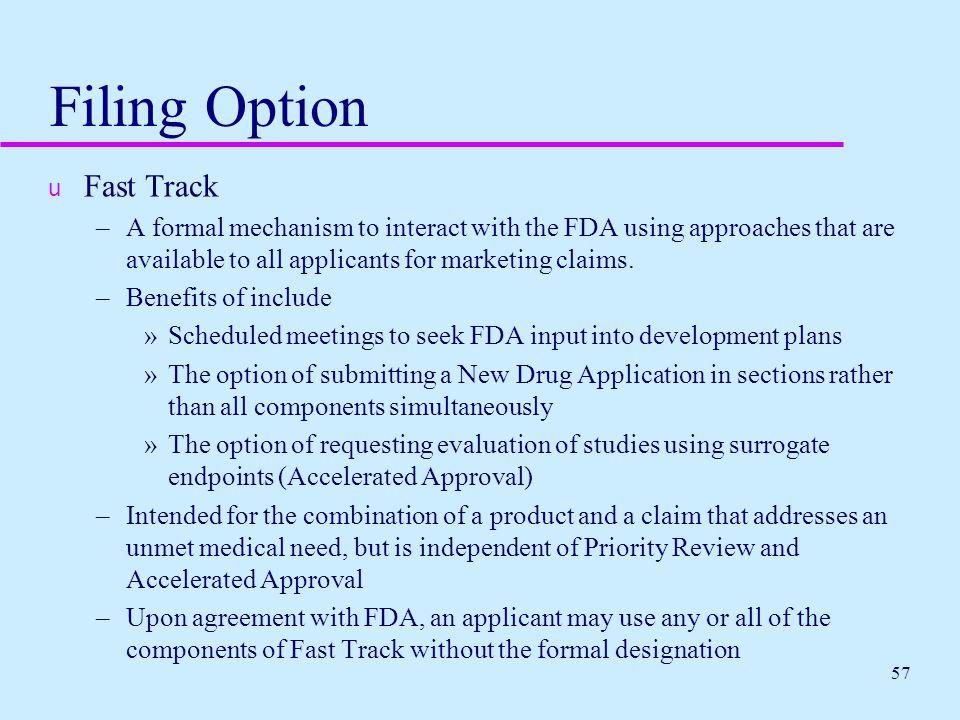Filing Option Fast Track