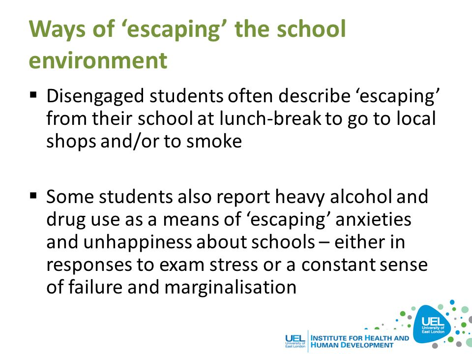 Ways of 'escaping' the school environment