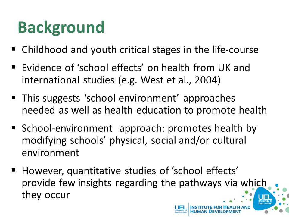 Background Childhood and youth critical stages in the life-course