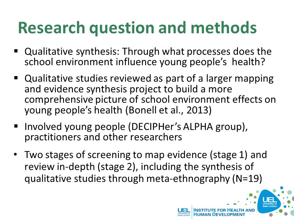 Research question and methods