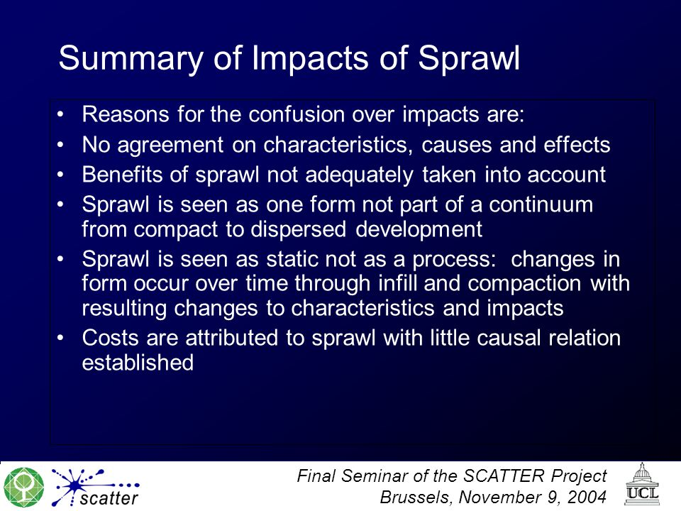 Summary of Impacts of Sprawl