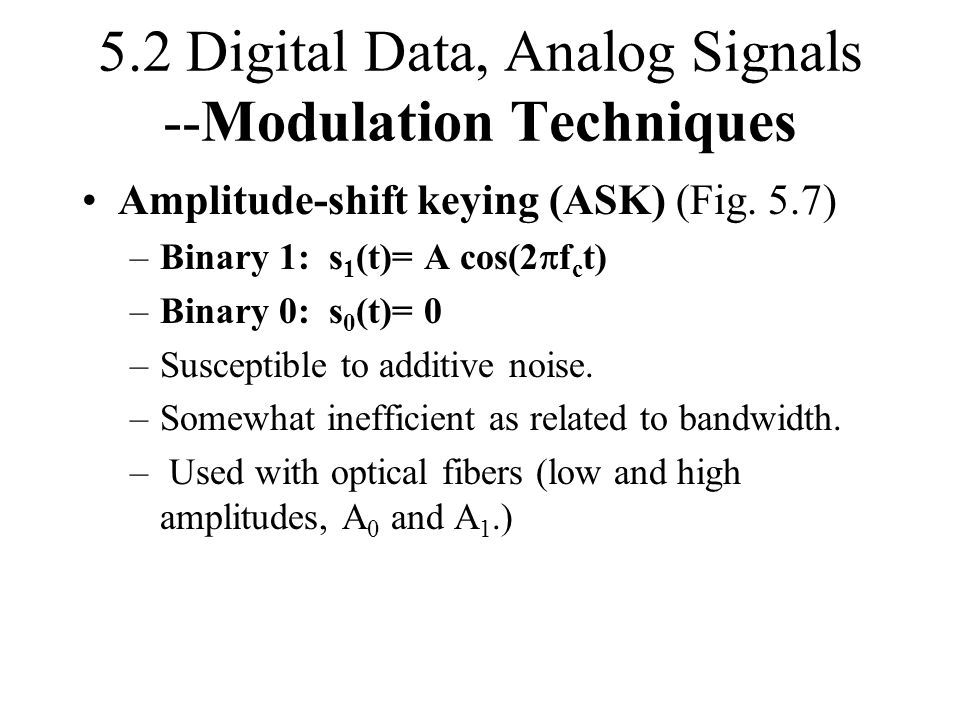 5.2 Digital Data, Analog Signals --Modulation Techniques